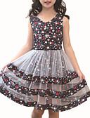 baratos Vestidos para Meninas-Infantil Para Meninas Activo Diário Floral / Retalhos Patchwork Sem Manga Raiom / Poliéster Vestido Rosa 140