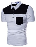 cheap Men's Polos-Men's Business Basic Plus Size Polo - Color Block Shirt Collar