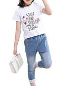 olcso Lány divat-Gyerekek Lány Aktív / Alap Szabadság Egyszínű / Virágos / Nyomtatott Rövid ujjú Pamut Ruházat szett