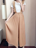 זול חליפות שני חלקים לנשים-מכנס דפוס, אחיד - חולצה שרוול נפוח פעיל מידות גדולות בגדי ריקוד נשים