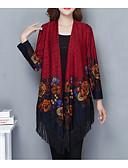 cheap Women's Pants-Women's Long Sleeve Loose Long Cardigan - Floral, Print V Neck / Fall / Tassel