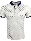 hesapli Erkek Polo Tişörtleri-Erkek Gömlek Yaka Polo Yuvarlak Noktalı / Kısa Kollu