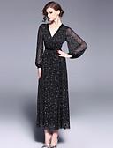 baratos Vestidos Femininos-Mulheres Vintage balanço Vestido - Com Transparência, Abstrato Longo