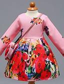 tanie Modne szale i chusty-Sukienka Bawełna Dziewczyny Codzienny Szkoła Kwiaty Wielokolorowa Wiosna Lato Długi rękaw Urocza Na co dzień Blushing Pink