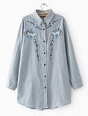 זול סוודרים לנשים-פסים / פרחוני צווארון חולצה חולצה - בגדי ריקוד נשים / אביב