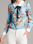 זול שמלות נשים-אחיד פרחוני צווארון חולצה בסיסי חולצה - בגדי ריקוד נשים