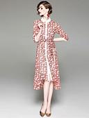 זול שמלות נשים-עד הברך דפוס, פרחוני - שמלה סווינג בסיסי בגדי ריקוד נשים