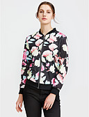 ieftine Leggings-Pentru femei Zilnic / Sport Șic Stradă Primăvară / Toamnă Regular Jachetă, Floral / Botanic Stand Manșon Lung POLY Negru M / L / XL