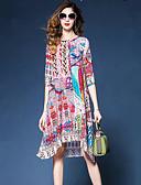 halpa Naisten mekot-Naisten Perus Suora Mekko - Geometrinen, Painettu Polvipituinen