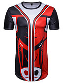 cheap Men's Polos-Men's Sports Street chic Cotton T-shirt - Striped / Color Block / Animal Print Round Neck Red L / Short Sleeve / Summer / Long