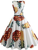 cheap Men's Shirts-Women's Going out Vintage Cotton Slim Swing Dress - Fruit Pineapple, Print / Spring / Summer
