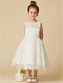 Χαμηλού Κόστους Λουλουδάτα φορέματα για κορίτσια-Γραμμή Α Κάτω από το γόνατο Φόρεμα για Κοριτσάκι Λουλουδιών - Δαντέλα / Τούλι Αμάνικο Με Κόσμημα με Δαντέλα με LAN TING BRIDE®