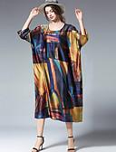 abordables Vestidos de Mujer-Mujer Tallas Grandes Noche Corte Ancho Corte Swing Vestido Bloques Midi Escote en U