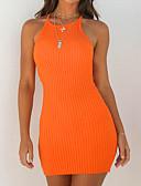 זול שמלות נשים-בגדי ריקוד נשים בסיסי / סגנון רחוב סקיני מכנסיים - אחיד גב חשוף שחור / קולר / ליציאה / סקסית
