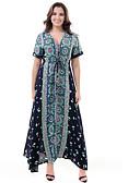 رخيصةأون فساتين نسائية-فستان نسائي جلابية أساسي / بوهو قطن طويل للأرض ورد V رقبة مناسب للعطلات