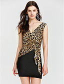 cheap Women's Dresses-Women's Leopard Party / Holiday Mini Bodycon Dress - Striped Black & Red High Waist V Neck Summer Black Red Yellow One-Size / Slim