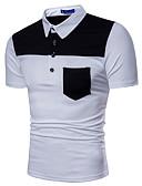 ieftine Maieu & Tricouri Bărbați-Bărbați Guler Cămașă - Mărime Plus Size Tricou Bumbac De Bază - Bloc Culoare / Manșon scurt