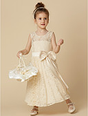 cheap Flower Girl Dresses-A-Line Tea Length Flower Girl Dress - Lace Sleeveless Jewel Neck with Bow(s) / Sash / Ribbon by LAN TING BRIDE®
