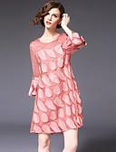 tanie Suknie i sukienki damskie-Damskie Flare rękawem Szczupła Linia A Sukienka - Kolorowy blok, Patchwork Nad kolano