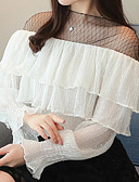 cheap Women's Tops-Women's Holiday / Work Street chic T-shirt - Color Block Lace Crew Neck / Spring / Summer / Ruffle