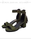 abordables Vestidos de Madrina-Mujer Zapatos PU Primavera / Verano Confort Sandalias Tacón Cuadrado Puntera abierta Perla de Imitación Negro / Verde Ejército