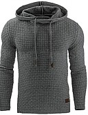 cheap Men's Hoodies & Sweatshirts-Men's Plus Size Sports Basic Long Sleeve Slim Hoodie - Solid Colored Hooded Dark Gray XL / Spring / Fall