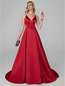 cheap Evening Dresses-A-Line Spaghetti Strap Sweep / Brush Train Tencel Formal Evening Dress with Sash / Ribbon by TS Couture®