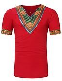 cheap Men's Shirts-Men's Basic T-shirt - Geometric Print V Neck / Short Sleeve