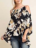 baratos Calças Femininas-Mulheres Blusa Moda de Rua Floral Solto / Padrões florais