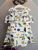 cheap Girls' Dresses-Girl's Daily Print Dress, Polyester Summer Sleeveless Cute White