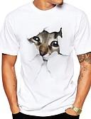 billige T-skjorter og singleter til herrer-Rund hals Store størrelser T-skjorte Herre - Dyr, Trykt mønster Gatemote Grå XL / Kortermet / Sommer