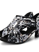 cheap Women's Blouses-Women's Latin Shoes / Modern Shoes Stretch Satin Sandal / Heel Flora Flared Heel Customizable Dance Shoes Black / Navy / Leather