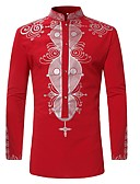 cheap Men's Jackets & Coats-Men's Shirt - Tribal Print Standing Collar / Long Sleeve