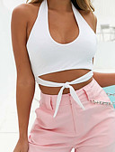 cheap Women's Belt-Women's Holiday Active / Basic Tank Top - Solid Colored Strapless / Summer / Lace up