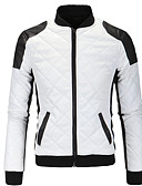 cheap Men's Jackets & Coats-Men's Sports Active / Basic Leather Jacket - Solid Colored Stand / Long Sleeve