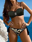 tanie Bikini i odzież kąpielowa 2017-Damskie Bandeau (opaska na biust) Pasek Bikini - Nadruk, Kamuflaż Dół typu Cheeky / Seksowny
