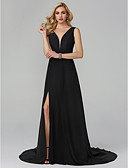 cheap Evening Dresses-A-Line Plunging Neck Sweep / Brush Train Chiffon Cocktail Party / Formal Evening Dress with Split Front by TS Couture®
