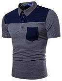 olcso Férfi pólók-Állógallér Férfi Pamut Polo - Színes / Kérjük, válasszon méreténél eggyel nagyobb méretet. / Rövid ujjú