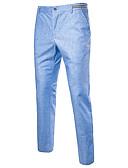 abordables Polos de Hombre-Hombre Chic de Calle Tallas Grandes Algodón / Lino Delgado Chinos Pantalones - Un Color / Trabajo
