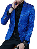 ieftine Blazer & Costume de Bărbați-Bărbați Petrecere / Muncă Regular Blazer, Mată În V Manșon Lung Poliester Negru / Bleumarin XL / XXL / XXXL
