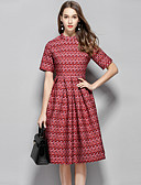 cheap Women's Dresses-Women's Party / Going out Street chic / Sophisticated A Line Dress - Geometric Print High Waist Stand Spring Red M L XL