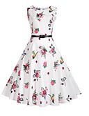 cheap Women's Dresses-Women's Holiday Vintage A Line Dress - Floral Print / Summer