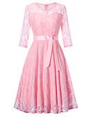 olcso Vintage királynő-Női Vintage / Alap A-vonalú / Hüvely Ruha - Csipke / Kivágott, Egyszínű Térdig érő