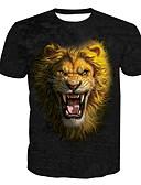 お買い得  メンズTシャツ&タンクトップ-男性用 プリント Tシャツ ベーシック ラウンドネック 動物 / 半袖