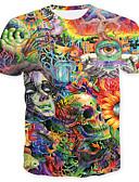 preiswerte Herren T-Shirts & Tank Tops-Herrn Geometrisch Einfarbig Totenkopf Motiv - Totenkopf Grundlegend T-shirt Druck
