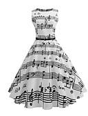 baratos Vestidos Vintage-Mulheres Vintage Delgado Evasê Vestido Listrado Médio Branco