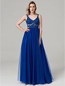 זול שמלות נשף-נשף צווארון V עד הריצפה תחרה / טול See Through נשף רקודים / ערב רישמי שמלה עם חרוזים / אפליקציות על ידי TS Couture®