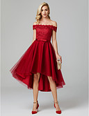 cheap Cocktail Dresses-A-Line Off Shoulder Asymmetrical Lace Over Tulle High Low Cocktail Party Dress with Bow(s) by TS Couture®