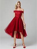 preiswerte Cocktailkleider-A-Linie Schulterfrei Asymmetrisch Tüll mit Spitzen-Overlay High Low Cocktailparty Kleid mit Schleife(n) durch TS Couture®