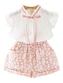 preiswerte Kleidersets für Mädchen-Mädchen Alltag Druck Kleidungs Set, Polyester Sommer Ärmellos Grundlegend Rosa Hellgrün